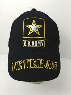 e3165ec631f US Army Veteran Hat Baseball Strapback Cap Embroidered Star Black NWT   EagleEmblem  BaseballCap Veteran