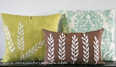 Ways to DIY throw pillows: Recycle old sweater Recycle old t-shirt Recycle napkins Recycle old anything fabric Fabric paint Transfer an image Fabric paint plus a stamp Sew felt shapes onto a pillow painted-pillow-tutorial Cute Pillows, Diy Pillows, Throw Pillows, Pillow Ideas, Cushion Ideas, Pillow Inspiration, Handmade Cushions, Scatter Cushions, Stenciled Pillows