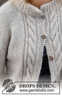 Knitted Mittens Pattern, Knit Cardigan Pattern, Knit Mittens, Knitting Patterns Free, Free Knitting, Drops Design, Sky E, Herringbone Jacket, Drops Patterns