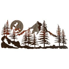 Mountain Scene Burnished Metal Wall Art