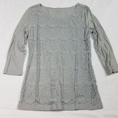 Ann Taylor LOFT Womens Top Blouse Size XS Gray 3/4 Sleeve Lace Overlay Shirt AA1 #AnnTaylorLOFT #Blouse #Casual
