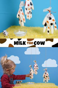 Milk the Cow - A Fun Fine Motor Skills Activity for Toddlers and Preschoolers A fun DIY sensory game to teach your little ones about farm animals while working on their fine motor skills. Makes a fun birthday game too! Farm Animals Preschool, Farm Animal Crafts, Farm Crafts, Animal Crafts For Kids, Daycare Crafts, Craft Kids, Preschool Farm Theme, Cow Craft, Animal Activities For Kids