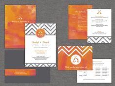 Burnt Orange & Gray Wedding Invites