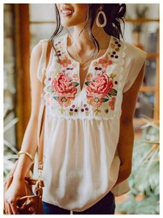 Shop Womens Collection White Floral Sleeveless Womens Collection online Discover unique designers fashion at Boho Fashion, Fashion Outfits, Womens Fashion, Fashion Trends, 80s Fashion, Fashion Quiz, Fashion Blouses, Women's Blouses, Floral Fashion