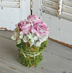 Dried Pink  Roses with Moss Covered  Pot  /  by roseflower48, $18.00 Dried roses/hydrangea