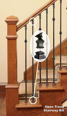 Replace Wood Balusters with Iron Balusters - Wood Stairs Wrought Iron Stair Railing, Staircase Railings, Staircase Design, Bannister, Iron Spindle Staircase, Banister Ideas, Redo Stairs, House Stairs, Wood Balusters