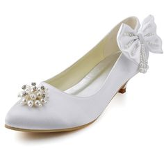 """Ivory Dyeable Amazing 1.5"""" Pearl Brooch & Bowknot Almond Toe Slip-on -Casual shoes (11 colors)."""