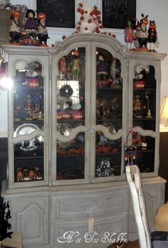 China hutch painted with Chalk Paint®  Paris Grey & Graphite inside.