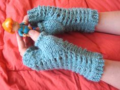 Slip-Stitch Mesh Fingerless Gloves: made with roughly 100 yards of worsted-weight yarn and size 8 needles
