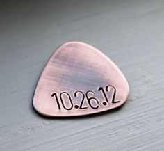 Custom Guitar Pick in Handstamped Copper - Perfect Anniversary Gift for Husband or Boyfriend