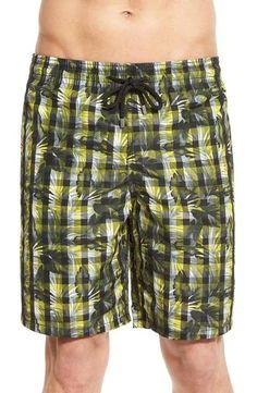 Flora Pattern Indian Colorful Flower Stripe Slim Fit Solid Board Swim Shorts