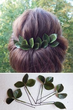 Green leaves hair pins Greenery wedding hair piece Bridal floral hairpiece Bridesmaid hairpins Rustic bride head piece Green leaf headpiece - All For Bride Hair Style Pixie Wedding Hair, Half Up Wedding Hair, Curly Wedding Hair, Long Hair Wedding Styles, Vintage Wedding Hair, Braided Hairstyles For Wedding, Wedding Hair Pieces, Bride Hairstyles, Long Hair Styles