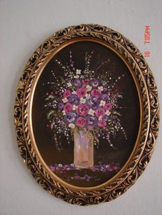 Original Floral Miniature Oil Painting With Gold wooden oval ornate frame in pinks,purples, lavenders, shabby chic cottage victorian decor