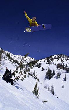 ✮ Woman Riding Off A Jump, Snowbird, Utah