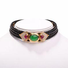 20.85 cts Marina B Cabochon Emerald Diamond Onyx Choker Necklace