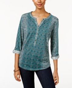 Style & Co Petite Printed Split-Neck Top, Only at Macy's - Green P/XL