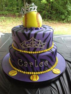 Softball princess cake, except with a volleyball! Softball Treats, Softball Birthday Parties, Softball Party, Girls Softball, Softball Cupcakes, Softball Cheers, Softball Pitching, Softball Bows, Softball Equipment