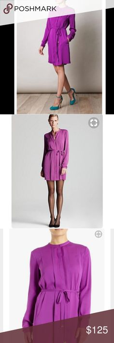 "Diane Von Furstenberg Atira Orchid Purple 8 10 The easy, timeless silhouette of a shirtdress has been reimagined with distinctly feminine lines. Slim pleats conceal the button placket for a seamless look, and a slim self-belt with gleaming aglets defines the waist. Discreet welt pockets sit at the hip. Unlined.  Fabric: Stretch silk. 95% silk/5% spandex.. Main tag with size has been removed. I'm calling this 8 or 10 based on these measurements **PLEASE READ: 36"" bust, 24"" sleeve, 37"" length…"