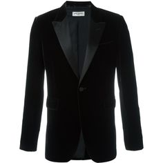 Saint Laurent 'Iconic Le Smoking 70's' velvet blazer ($2,790) ❤ liked on Polyvore featuring men's fashion, men's clothing, men's sportcoats and brown