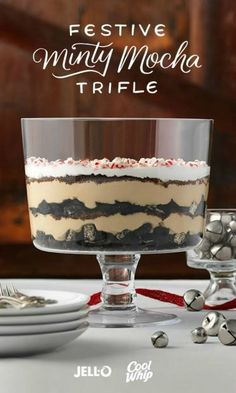 Mint, chocolate and coffee together have been wowing taste buds forever, but Festive Minty Mocha Trifle presents this classic dessert trio in a new and elevated way. And with just three steps, preparation is a cinch. Start with JELL-O Vanilla Flavor Instant Pudding, COOL WHIP Whipped Topping, BAKER'S Semi-Sweet Chocolate, French roast and peppermint extract. Repin to share the chocolate minty goodness.