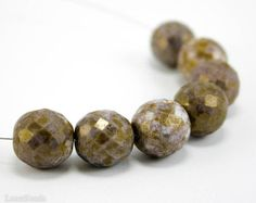 Purple Bronze Picasso Czech Beads 14mm 6 Fire by LaserBeads, $3.00