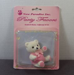 New Old Stock Pink Baby Shower Mini Teddy Bear Party Favor Decoration