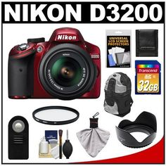 Nikon D3200 Digital SLR Camera & 18-55mm G VR DX AF-S Zoom Lens (Red) with 32GB Card + Backpack + Filter + Remote + Accessory Kit by Nikon. $639.95. Kit includes:♦ 1) Nikon D3200 Digital SLR Camera & 18-55mm G VR DX AF-S Zoom Lens (Red) ♦ 2) Transcend 32GB SecureDigital Class 10 (SDHC) Ultra-High-Speed Card♦ 3) Zeikos ZE-BP2-S Deluxe Sling Digital SLR Camera Backpack Case   ♦ 4) Zeikos 52mm Professional Tulip Hard Lens Hood♦ 5) Vivitar 52mm UV Glass Filter♦ 6) Vivit...