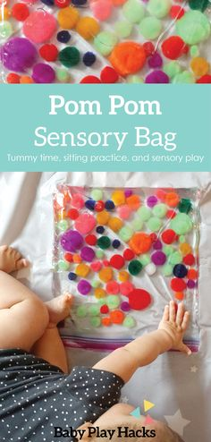 Baby play for tummy time, this easy DIY idea is great for infants and can be used for sitting practice as well! Diy Sensory Toys For Babies, Baby Sensory Bags, Baby Sensory Play, Baby Play, Sensory Kids, Babysitting Activities, Infant Activities, Sensory Activities, Summer Activities