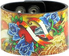 Tattoo Johnny Hearts & Roses Leather Cuff Bracelet----SPRING SALE!!!!