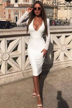 White Deep V Long Sleeve Bandage Dress – CHICIDA Best Picture For Bodycon Dress with jacket For Your Taste You are looking for something, and it is going to tell you exactly what you are looking for, Next Dresses, Tight Dresses, Club Dresses, Stylish Dresses, Fashion Dresses, Dress Casual, Going Out Dresses, Dress Formal, Party Dresses