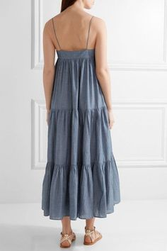 APIECE APART - Tangiers Tiered Cotton-chambray Midi Dress - Blue - US