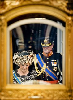 Queen Beatrix and Prince Willem-Alexander  | The Royal Hats Blog | When I think of the Dutch abdication and enthronement tomorrow, there is one image that keeps coming to mind. It is of Queen Beatrix and Prince Willem-Alexander entering The Golden Carriage in The Hague on Prinsjesdag last year. On September 18, 2012, we did not know it would be Queen Beatrix's final speech from the throne to open parliament. But these two did.   Here they are. The Queen and her son, a man soon to be King.