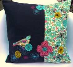 Turquoise Bird Applique Cushion by AmandaWoodDesigns on Etsy, £47.00