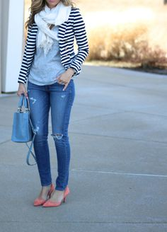 Nautical striped blazer, distressed denim, colorful heels | Lilly Style