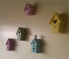 Nursery Decor Mini Wooden Bird Houses Set of 5 by RachelRaeDesigns, $40.00