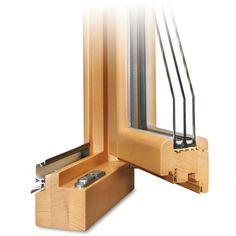 Holzfenster ROUNDLINE 78 Profilecke geöffnet mit Regenschiene im Farbton Kiefer