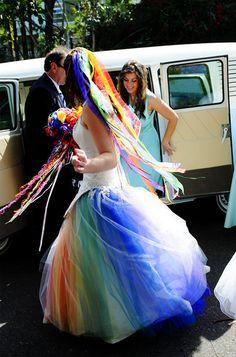 rainbow wedding dress offbeat bride