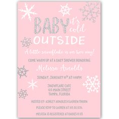 Little Snowflake Pink Baby Shower Invitation - Invite guests to your girl baby shower with this simple winter themed invitation featuring snowflakes and decorative white lettering on a pink background. Snowflake Baby Shower, Little Snowflake, Christmas Baby Shower, Baby Shower Winter, Birthday Party Invitation Wording, Printable Baby Shower Invitations, Baby Shower Printables, Invitation Ideas, Simple Baby Shower