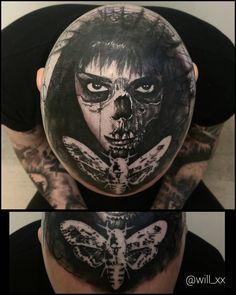 Top of the noggin ... Riley is a beast and a pleasure to tattoo .. Thanx bud .. Model .. @raeschel . . #deathheadmoth #skull #death #goth #gothic #love #allaprimaink #peakneedles #blackdiamondtattoosupply #saltlakecity #slc #utah #pma #lifeisgood #blaquesaltstudio by will_xx