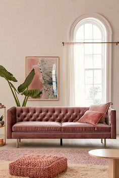 Natalia Velvet Tufted Sofa in Lavender Pink Velvet Sofa, Velvet Tufted Sofa, Pink Couch, Chesterfield Sofa, Living Room Sofa, Living Room Furniture, Living Room Decor, Dining Room, Living Area