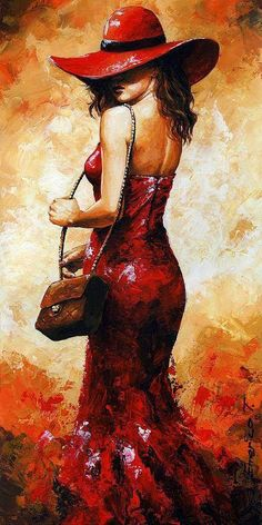 Lady In Red 30 by Emerico Imre Toth - Lady In Red 30 Painting - Lady In Red 30 Fine Art Prints and Posters for Sale Back Painting, Woman Painting, Knife Painting, Figure Painting, Red Art, Black Art, Beautiful Paintings, Female Art, Lady In Red