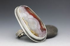 Agua Nueva Agate and Sterling Ring, Cocktail Ring, Red White Gold, Statement Ring, Unisex Ring, Size 7