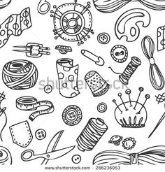 Seamless vector doodle sewing and needlework pattern - stock vector
