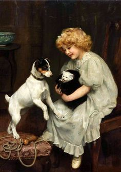 """""""Safe Quarters"""", by English artist - Arthur John Elsley Oil on canvas Smooth Fox Terriers, Rat Terriers, Dogs And Kids, Animals For Kids, She And Her Cat, Vintage Illustration, Munier, Kittens And Puppies, Vintage Dog"""