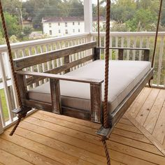 """Features:  -Made in the USA.  -1"""" Thick manila rope for the height of a 10' ceiling.  -Porch swing accommodates a twin size mattress.  Country of Manufacture: -United States.  Style (Old): -Rustic.  S"""