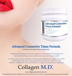 Collagen M.D.® support for healthy skin from within with Advanced Connective Tissue Formula.* A professional-strength dietary supplement powder that is neutral in taste and unflavored so it can be added to any combination of fresh berries for a delicious, nutrient-dense drink to support the natural mechanisms of the body that promote skin and connective tissue health.* Manufactured in California under strict cGMP guidelines and free of gluten, dairy, soy, sugar, fillers and preservatives