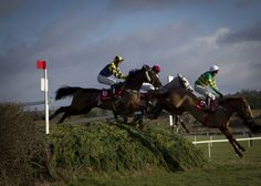 Ballyboker Bridge creep into the race after leading early before winning the P.P. Hogan Memorial Cross Country Chase at Punchestown. #Racing
