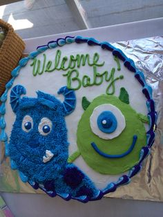 Awesome Monsters Inc Shower Cake Baby Shower Gender Reveal, Baby Shower Themes, Baby Boy Shower, Shower Ideas, Cakes For Boys, Boy Cakes, Welcome Baby Party, Monster Inc Cakes, Monsters Inc Baby Shower