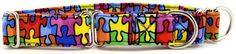 Autism Awareness Rainbow Puzzle Martingale Pet Dog Collar - Collar Planet The Autism puzzle signifies the complexity and mystery of the autism spectrum. This bright, colorful martingale is a wonderful way to show your support for Autism Awareness.