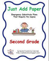 Just Add Paper 2nd Grade Emergency Sub Plans... $5